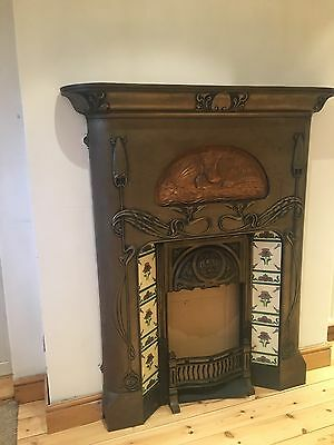 Large Combination Cast Iron and Copper Fireplace