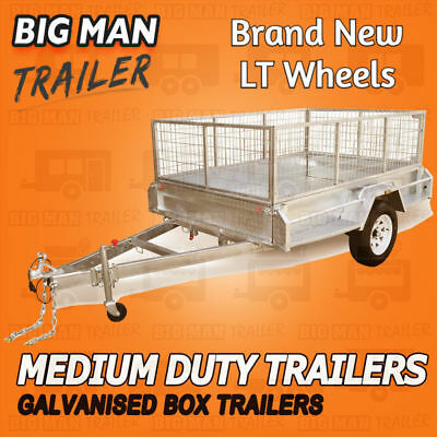 7x5 Galvanised Box Trailer 900MM Cage Side Heavy Duty Checker Plate Single Axle
