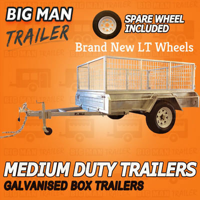 8x5 WITH SPARE WHEEL 900MM CAGE SINGLE AXLE Trailer Galvanised MEDIUM Duty
