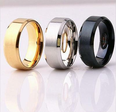 60x Top quality Comfort fit 8mm Band Men Fashion Stainless Steel Rings Color Mix