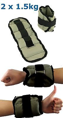 BodyRip 2 x 1.5kg ANKLE / WRIST WEIGHT WRAPS STRAPS PERFECT WORKOUT TRAINING