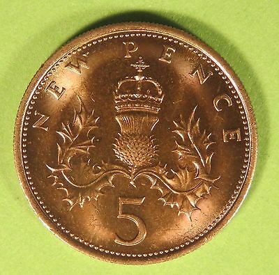 1968 Queen Elizabeth II 5P five pence coin UNC from coin roll, in coin wallet