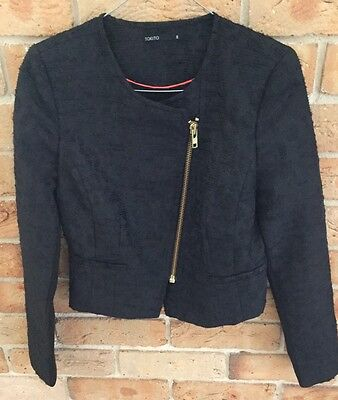 Tokito Black Biker Jacket, Textured, Long Sleeve Small 8