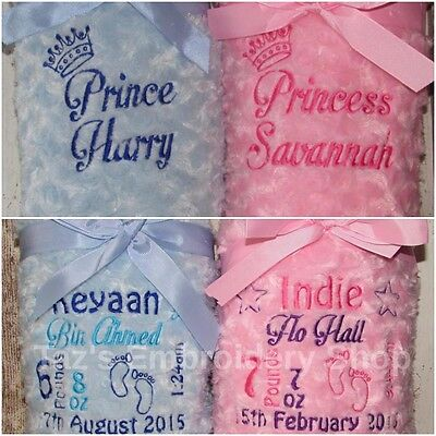 Personalised Luxury Baby Blanket Soft & Fluffy Princess Prince Birth Block Gift