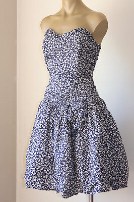 SWEET VINTAGE 80's FRENCH RUCH'D FLORAL TULLE PARTY DRESS 16