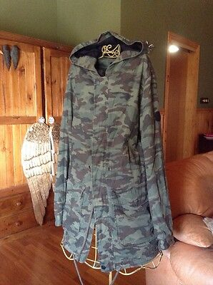 Camo Print Field Jacket Long Sz M