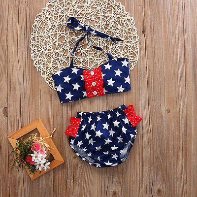 US Stock Kid Baby Girl Stars Bikini Set Swimsuit Swimwear Bathing Suit Swim 2Pcs