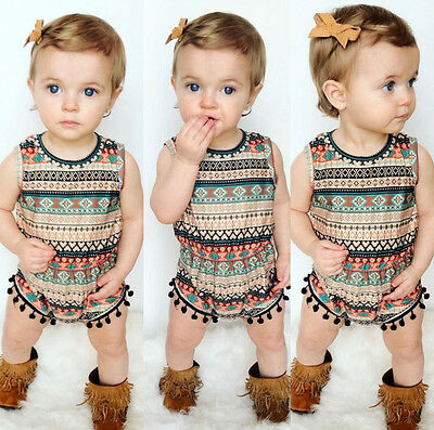 US Stock Baby Girls Bodysuit Romper Sunsuit One-pieces Clothes Headband Outfits