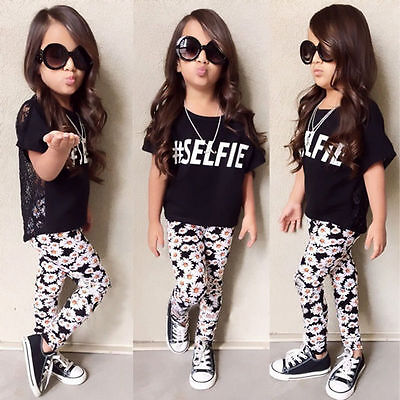 USA 2Pcs Toddler Kids Girl Top T-Shirt Floral Pants Leggings Outfits Set Clothes