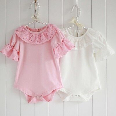 US Stock Cute Baby Girls Ruffle Lace One Piece Bodysuit Romper Jumpsuit Clothes