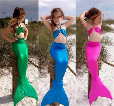 USA Mermaid Kids Girls Tail Bikini Set Swimwear Swimsuit Bathing Suit Costume