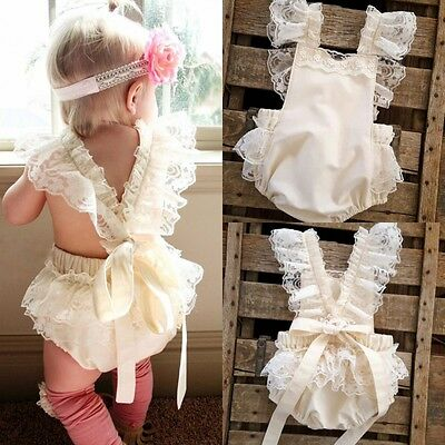 US Stock Lace Baby Girls Ruffle Bodysuit Romper Dress Jumpsuit Sunsuit Clothes