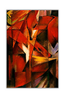 Abstract Foxes Fuchse By Franz Marc Poster Wall Art Prints Home Decoration