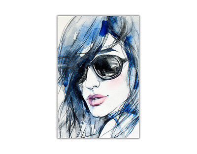 Portrait Blue Fashion Lady Poster Prints Wall Art Decoration Painting Re-Print