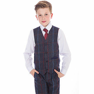 Boys Suits Boys Wedding Suit Tweed Waistcoat Suit Page Boy Baby Party Navy Suit
