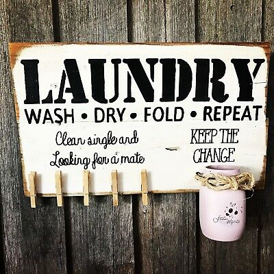 LAUNDRY MULTI PURPOSE H30CM X L50CM - Rustic Vintage Style Timber Sign