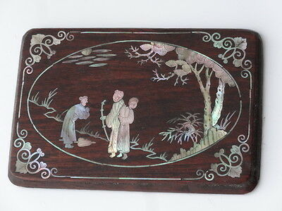 Antique Japanese Carved Inlaid Mother of Pearl Wood Plaque Oriental