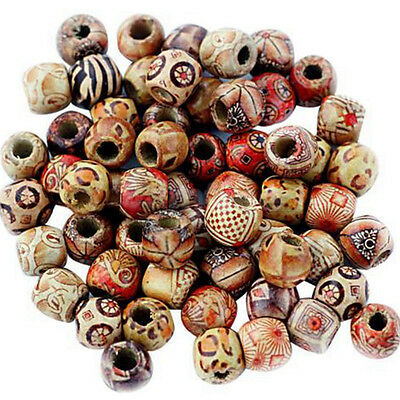 100pcs 9*10mm Assorted Wood Round Beads for Jewelry Making Loose Spacer Hot Sale