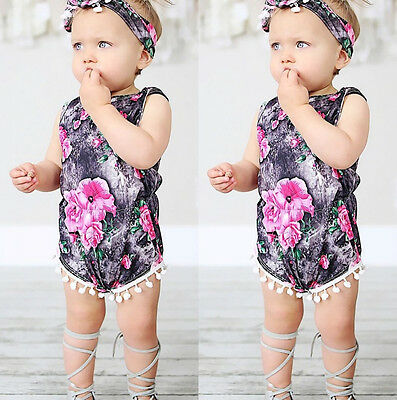 USA Floral Baby Girls Bodysuit Romper Jumpsuit Sunsuit Outfits Set Clothes 0-24M