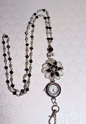 Black Crystal and Silver Flower Beaded Lanyard Necklace / ID Badge with Watch