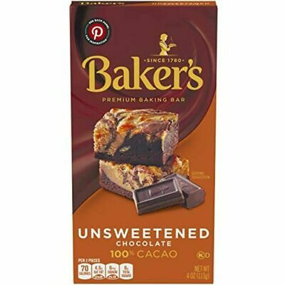 Bakers Unsweetened Baking CHOCOLATE Bars 113g (4oz) Baker's