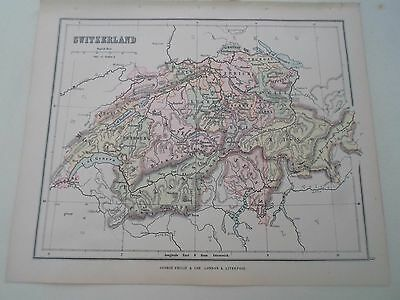Antique Map 1890 ~ SWITZERLAND - From Philips Atlas For Beginners  §9