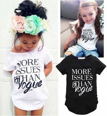 USA Fashion Toddler Kids Girl Summer Short sleeve Tops T-shirt Clothes NEW