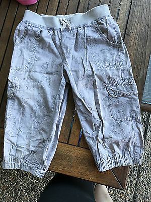GIRLS CARGO SHORTS - size 8. Beautiful grey with floral design