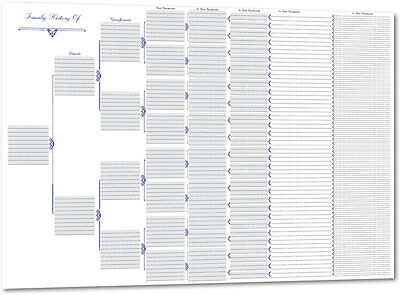 A2 Pedigree Family Tree Chart (Family History / Genealogy Chart)