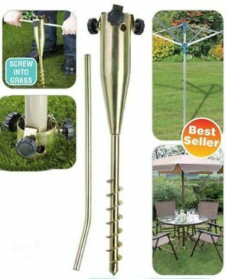 Heavy Duty Screw In Metal Ground Spike Base for Parasol or Rotary Washing Line