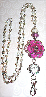 Pink and Silver Flower Cream Pearl Beaded Lanyard Necklace / ID Badge with Watch