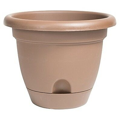 "Bloem Lucca Planter with Attached Tray, 8"", Chocolate"