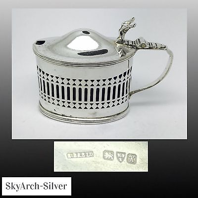 SOLID SILVER Mustard Pot LARGE HEAVY 213.8g HALLMARKED CHESTER 1908 Art Nouveau