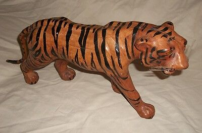 """Collectible Vintage Paper Mache Leather Bengal Tiger Statue 18"""" x 8"""" Yellow Eyes"""