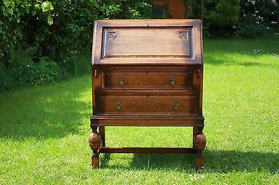 Vintage 1930S Solid Oak Writing Bureau  Fall Front Writing Surface Motif Key Vgc