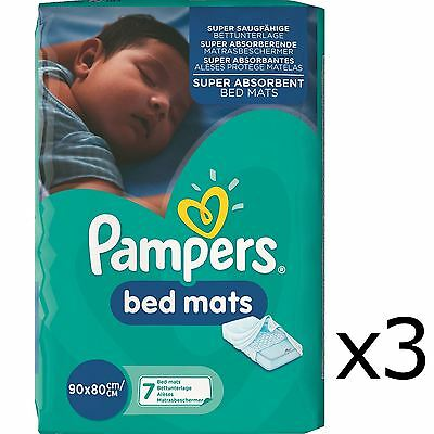 21x Pampers Super Absorbent Baby Toddler Bed Mats, Waterproof Backsheet, 80x90cm