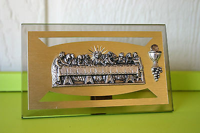 The Last Supper Glass and Metal Bas Relief Plaque Self Standing Christian Italy