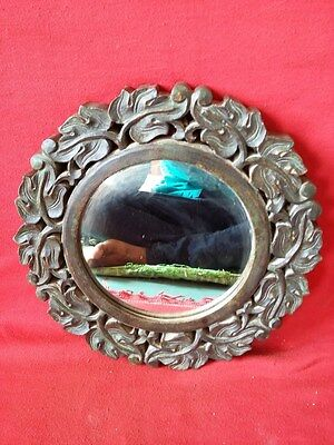 Antique Old Hand Made Wooden Engraved Beautiful Wooden Mirror #347