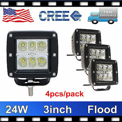 4X 3inch 24W CREE LED Work Light Cube Pods Offroad Boat Flood Driving Lamp Truck