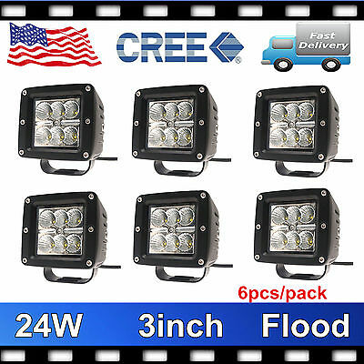 6X 24W CREE LED Work Light 3 Inch Flood Lamp Cube Pod Offroad 4WD Driving Truck