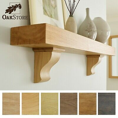 Rustic oak mantel shelf with corbels