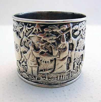 ANTIQUE 19th-Century CHINESE EXPORT Leeching SOLID SILVER NAPKIN RING 古董银器餐巾圈