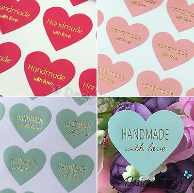 Handmade With Love Heart Shaped Stickers with Gold Text - Pink / Fuchsia / Green