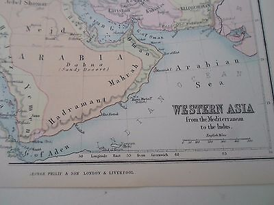 Antique Map 1890 WESTERN ASIA - From Philips Atlas For Beginners  §19
