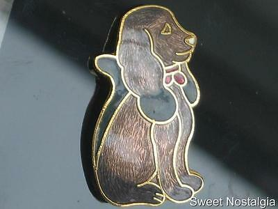 Lovely Vintage 70/80's Two Tone Brown Cloisonne Enamel Spaniel Puppy Dog Brooch