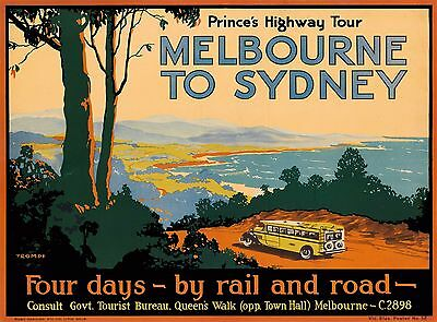 Prince's Melbourne to Sydney Australia Vintage Travel Advertisement Poster