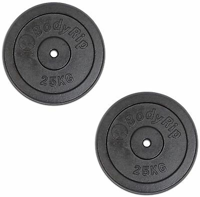 "Bodyrip 2 x 25Kg Cast Iron 1"" Hole Weight Plates Discs Weights Gym Muscle"