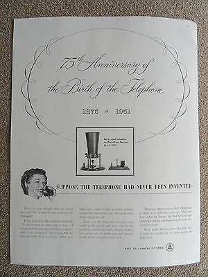 RARE AT&T Bell System Ad 1951 - 75th Anniversary of Telephone 1875-1951