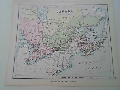 Antique Map 1890 CANADA EASTERN PROVINCES From Philips Atlas For Beginners  §26