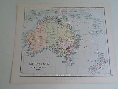 Antique Map 1890 AUSTRALIA + NEW ZEALAND From Philips Atlas For Beginners  §30